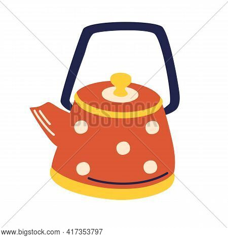 Ceramic Teapot Isolated On White Background. Cute Tea Kettle In Retro Style. Kitchen Appliance, Equi