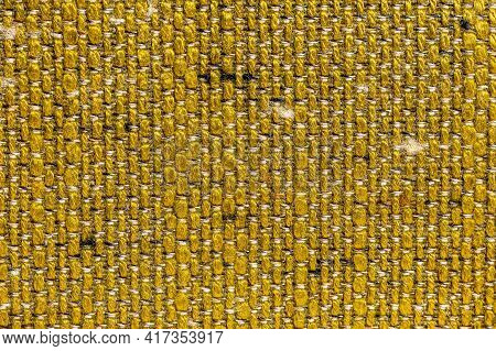Rustic Canvas Fabric Texture In Dark Yellow Woven Color.