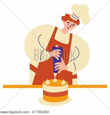 Happy Baker Confectioner Preparing Decorating Cake. Cooking, Decoration, Profession, Work Concept. M