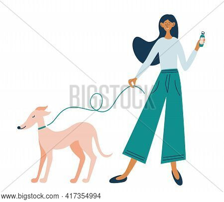 Young Cheerful Girl On A Walk With Her Dog. Walk With Your Beloved Pet. Female Character Walking Her