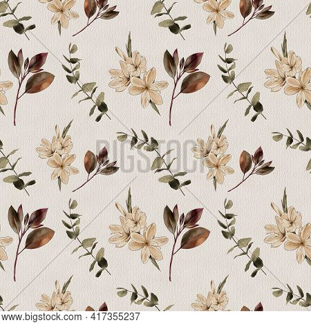 Botanical Vintage Seamless Pattern. Flowers And Branches On A White Background, Watercolor Painting,