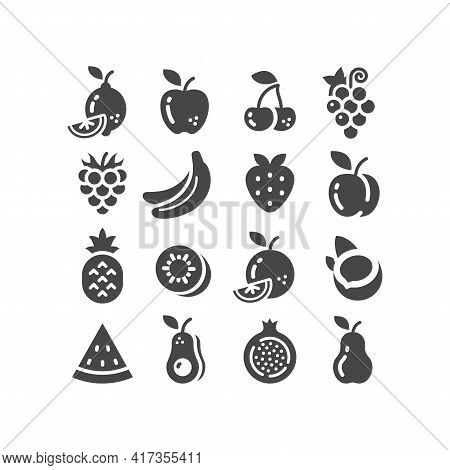 Fruits Black Vector Icon Set. Apple, Lemon, Banana, Fruit Symbols.