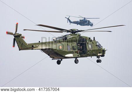 Kleine Brogel, Belgium - September 13, 2012: Military Helicopter At Air Base. Air Force Flight Opera