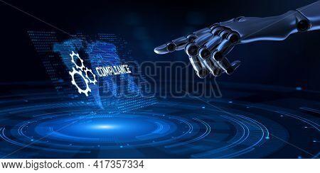 Compliance Regulations Standards Policies. Robotic Hand Pressing Button 3d Render