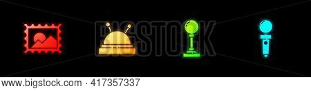Set Postal Stamp, Needle Bed And Needles, Joystick For Arcade Machine And Icon. Vector