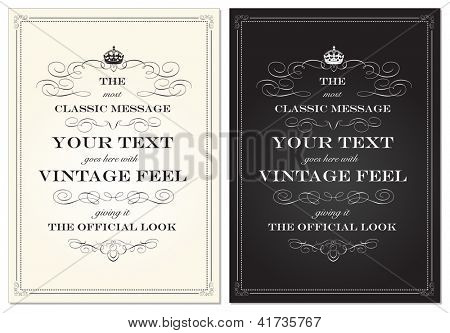Vector Vintage Crown Frame Set. Easy to edit. Perfect for invitations or announcements.