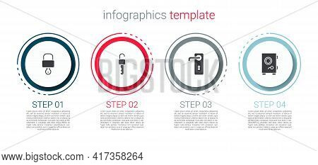 Set Lock And Key, Unlocked, Door Handle And Safe. Business Infographic Template. Vector