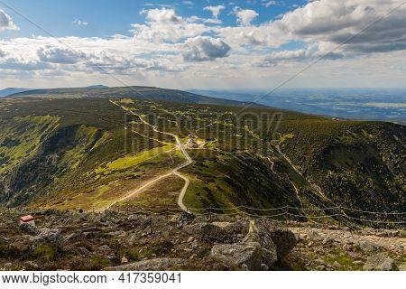 Giant Mountains, Poland - June 23 2020: Long Mountain Trails And Crossroads To Dom Slaski Mountain S