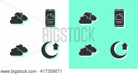 Set Moon, Sun And Cloud Weather, Cloud And Weather Forecast Icon. Vector