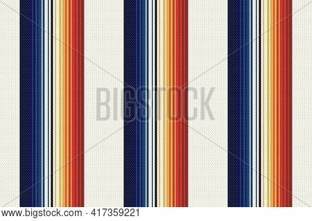 Mexican Stripe Seamless Pattern. Ethnic Textile Background. Serape Mexican Blanket. Ornament For Cin