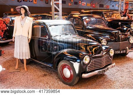 Reims, France - September 16, 2019: Vintage Coupe Car Simca 6 In The Reims-champagne Automobile Muse