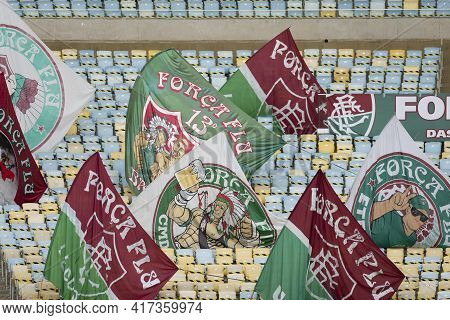 Rio, Brazil - April 17, 2021: Flags In Empty Stands Due To Pandemic In Match Between Fluminense V Bo
