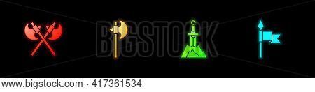 Set Crossed Medieval Axes, Medieval, Sword In The Stone And Spear Icon. Vector
