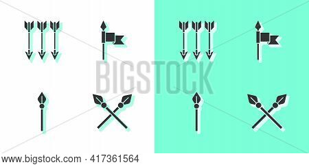 Set Crossed Medieval Spears, Arrows, Medieval And Icon. Vector