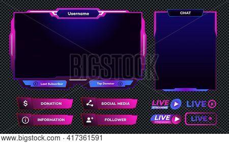 Streaming Screen Panel Overlay Design Template Neon Theme. Live Video, Online Stream Futuristic Tech