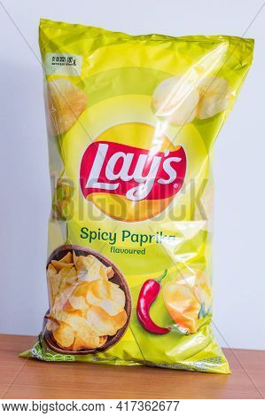 Pruszcz Gdanski, Poland - April 16, 2021: Lay's Spicy Paprika Flavored Chips.