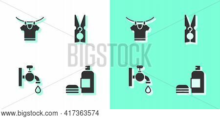Set Bottle Of Shampoo, Drying Clothes, Water Tap And Clothes Pin Icon. Vector