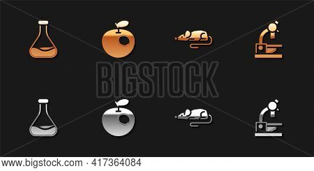 Set Test Tube And Flask, Genetically Modified Apple, Experimental Mouse And Microscope Icon. Vector
