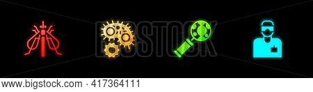Set Experimental Insect, Virus, Dna Research, Search And Laboratory Assistant Icon. Vector