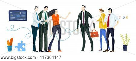 Digital Illustration Business People In Office, Meeting. Developing Team, Solving Problems, Finding