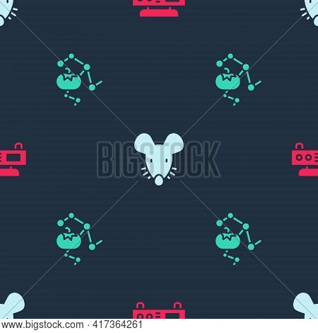 Set Electronic Scales, Experimental Mouse And Genetically Modified Food On Seamless Pattern. Vector