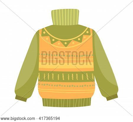 Cute Vibrant Elegant Green And Yellow Sweater. Comfortable Warm Bright Clothing Piece With Designer
