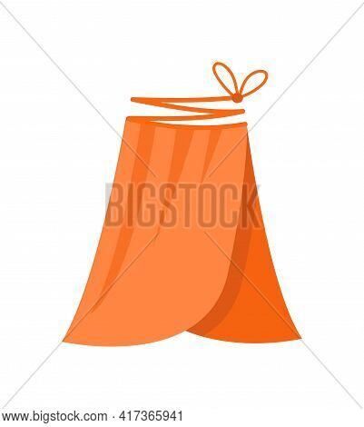 Cute Vibrant Elegant Orange Skirt With Lace. Comfortable Bright Clothing Piece With Designer Laces S