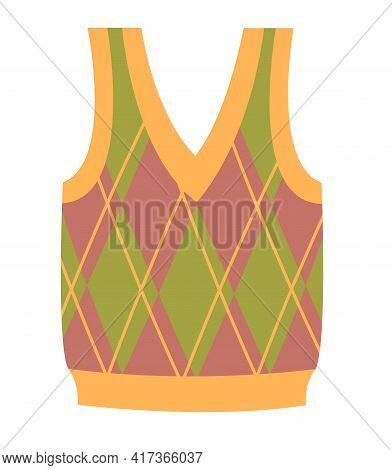 Cute Vibrant Elegant Colorful Vest Sweater. Comfortable Warm Bright Clothing Piece With Designer Pri