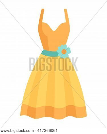 Cute Vibrant Elegant Yellow Dress For Special Occasions. Comfortable Bright Clothing Piece With Desi