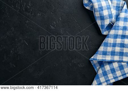 Blue Tablecloth On Kitchen Table Black Color With For Your Recipe Or Menu. Top View Flat Lay. Mock U