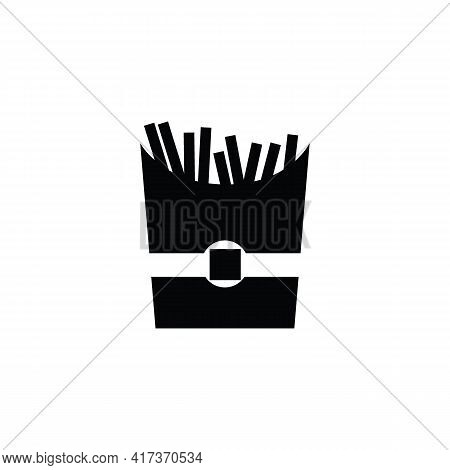 French Fries Paper Bag Vector Icon. Filled Flat Sign For Mobile Concept And Web Design. French Fries