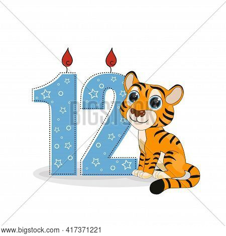 Cute Cartoon Tiger With Number Twelve Vector Illustration. Perfect For Cards, Party Invitations, Pos