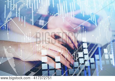 Businesswoman Or Stock Trader Analyzing Stock Graph Chart, Side View Business Woman Using Laptop To