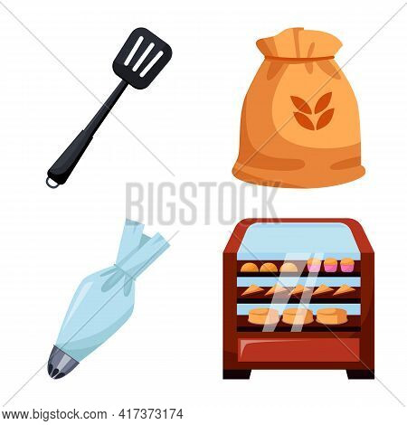 Vector Illustration Of Bakery And Natural Icon. Collection Of Bakery And Utensils Stock Vector Illus