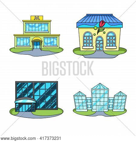 Vector Illustration Of Supermarket And Building Symbol. Collection Of Supermarket And City Stock Vec