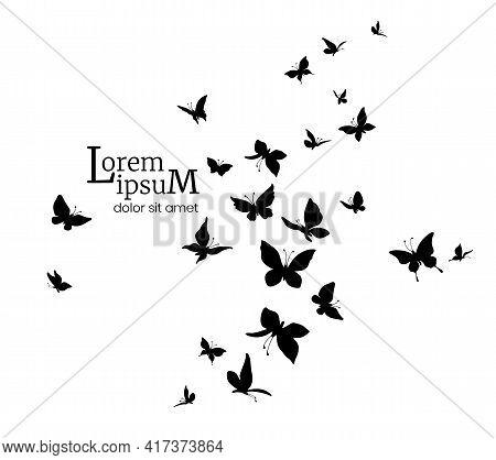 Flock Of Butterflies. Logo Design Template. Silhouettes Of Flying Butterflies.