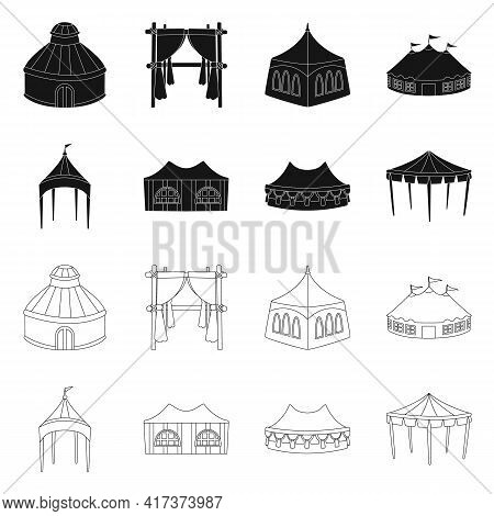 Isolated Object Of Roof And Folding Sign. Set Of Roof And Architecture Vector Icon For Stock.