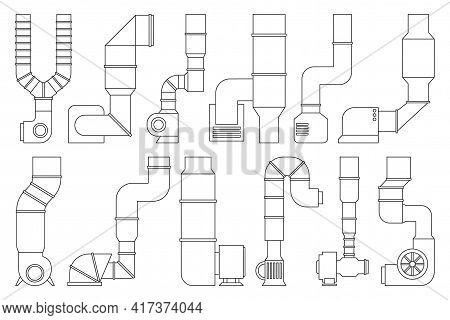 Ventilation Pipe Outline Vector Set Icon. Isolated Outline Set Icon Ventilation Pipe. Vector Illustr