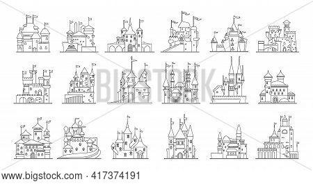 Medieval Castle Vector Outline Set Icon. Isolated Outline Set Icon Knight Fortress. Vector Illustrat