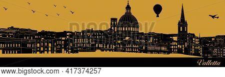 Vector City Skyline Silhouette - Illustration,  Town In Gold Background,  Valletta Malta