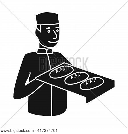 Vector Design Of Baker And Pan Logo. Collection Of Baker And Baguette Stock Symbol For Web.