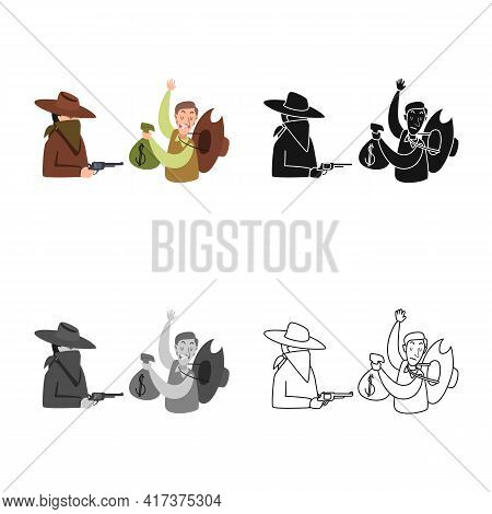 Isolated Object Of Robbery And Cowboy Symbol. Collection Of Robbery And Bank Stock Symbol For Web.
