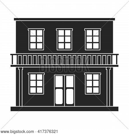 West Wild Building Vector Black Icon. Vector Illustration Western Houseon White Background. Isolated