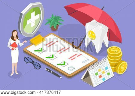 3d Isometric Flat Vector Conceptual Illustration Of Dental Insurance Policy.