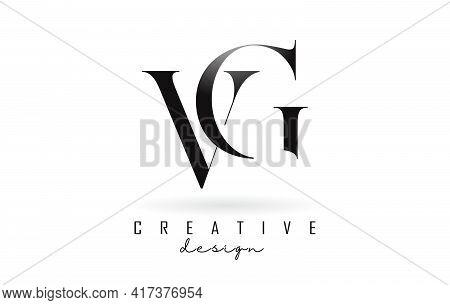 Vg V G Letter Design Logo Logotype Concept With Serif Font And Elegant Style. Vector Illustration Ic
