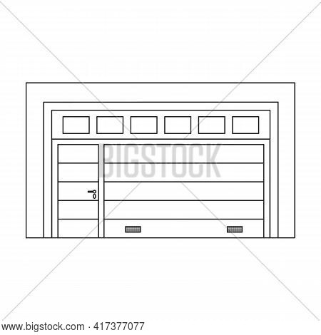 Door Garage Vector Outline Icon. Vector Illustration Gate House On White Background. Isolated Outlin