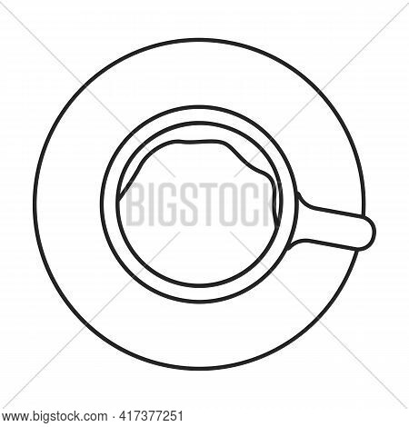 Coffee Cup Top Vector Outline Icon. Vector Illustration Drink On White Background. Isolated Outline