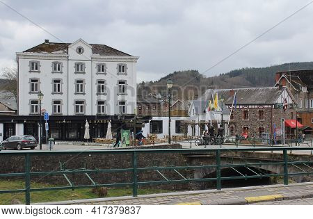 Stavelot, Belgium, 13 April 2021: The Village Of Coo Near Stavelot In The Belgian Ardennes. The Vill