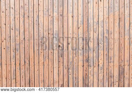 Texture Of Narrow Light Wood Planks With Veins And Knots. Vertical Narrow Boards. Wooden Pattern For