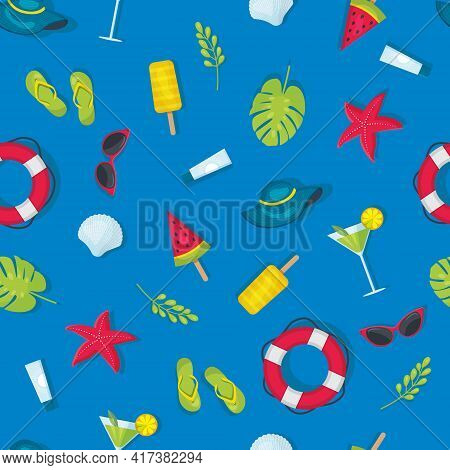 A Pattern Of Summer Elements On A Blue Background Isolated, A Seamless Pattern Of Summer Theme, A Br